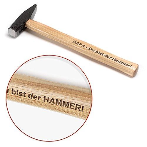 Hammer mit Gravur | 300 g | Vorderseite mit Ihren persönlichen Wunsch Text gravieren lassen | echtes & robustes Werkzeug