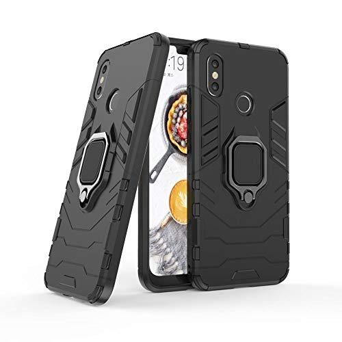 LCHULLE Funda para Xiaomi Mi 8/Mi 8 Pro Carcasa con Anillo Soporte Armadura Híbrida Funda [Doble Capa ] Rígida Robusta Ultra Delgada Carcasa Antigolpes Impacto Resistente Carcasa Protectora,Negro