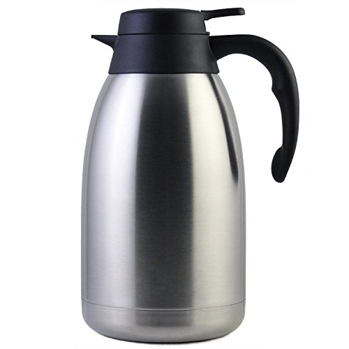 2L Edelstahl Thermoskanne / doppelwandige Vakuum Isolierkanne / Kaffeekanne mit 12 Stunden...