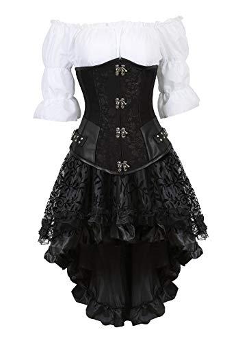 Grebrafan Steampunk Kunstleder Unterbrustcorsage Kostüm mit asymmetrischer Spitzenrock und Bluse - für Karneval Fasching Halloween (EUR(34-36) M, Schwarz) (Schwarz Korsett Mieder Erwachsenen)
