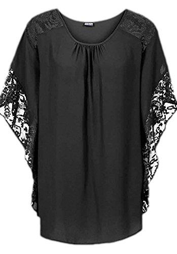 erdbeerloft - Damen Bat Shirt mit Details , 34-46, Viele Farben Schwarz