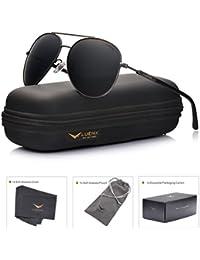 LUENX Herren&Damen Sonnenbrille Aviator Polarisiert mit Etui - UV 400 Schutz Spiegel Silber Linse Silber Rahmen 60mm HCW1boDJ