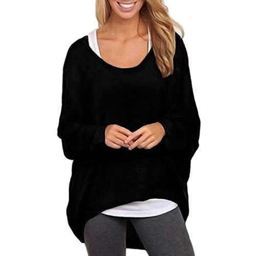 Pullover damen Sonnena Strickpullover Langarmshirt Lose Jumper Oberteile Strick mit V-Ausschnitt (Asian XL, Black) (Top V-neck Boyfriend)