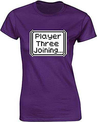 Player Three Joining..., Mesdames T-shirt imprimé - Pourpre/Transfert 2XL =