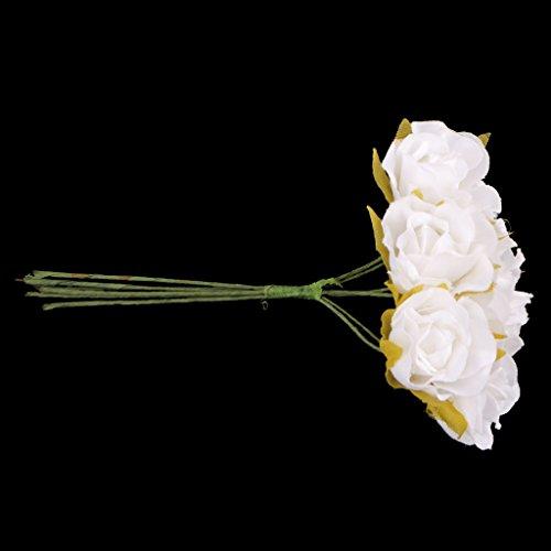 Blesiya 60 pezzi artificial rosa di seta per bouquet da sposa polso fiore compleanno festa - bianco