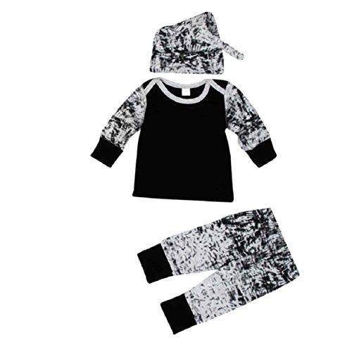 Overdose 1Sets Baby Jungen Outfit Kleidung Langarm Drucken T-Shirt + Long Pants + Hut (6M, Schwarz) (Sleeve Cap Tier)