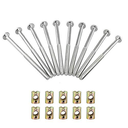 SUNSHINETEK Möbelschraube Inbusschraube mit Schlitz Zylindermutter Möbelschrauben aus verzinktem Kohlenstoffstahl mit Zylindermuttern Dübelmuttern Verbindungselement 10er-Pack (M6 x 120 mm)