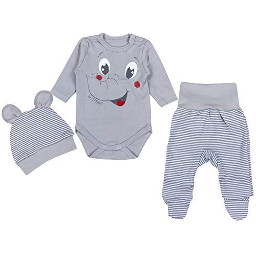 TupTam Baby Unisex Bekleidungsset mit Aufdruck 3 TLG, Farbe: Elefant Grau, Größe: 62