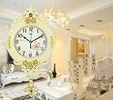 Reloj De Pared Relojes Europeos Sala De Estar Creativo Retro Péndulo Reloj Dormitorio Oscilación Reloj De Cuarzo Reloj De Oro Crack 31 * 55 Cm