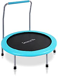 """SereneLife Portable & Foldable Trampoline - 36"""" dia Springfree Rebounder Jumping Mat Safe for Kid w/Padded Frame Cover and Handlebar and Carry Bag"""