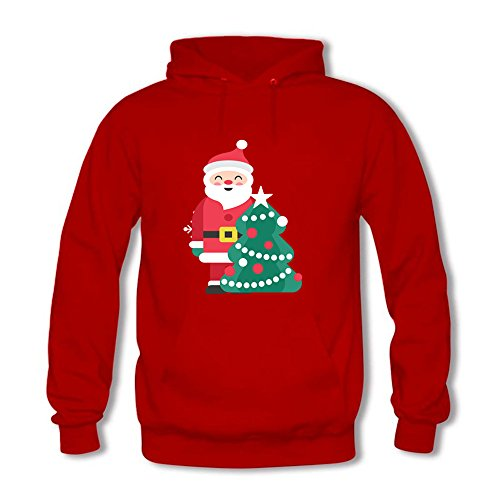 2bac65548cd593 Womens Cute Cartoon Santa Claus and Christmas Tree Printed Cotton Long  Sleeve Unisex Hoodie Casual Pullover