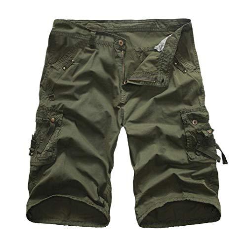 KPILP Mountain Shorts 3/4 Cargo Hose Herren Bermudas Kurz Unterhosen Sonnenbrille Strandhosen Shorts Lightning Edition Sturmfeuerzeug Schwarz(Armee grün,34)