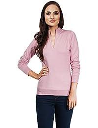 VB Damen Pullover mit V-Ausschnitt und Stehkragen