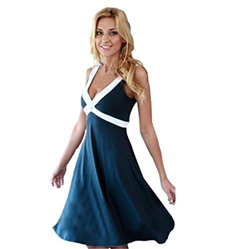 Damen Kleid Internet Sommer beiläufiges Sleeveless Abend Partei Kleid Knielänge Kleid (L, marine) (Steine Ärmellos)