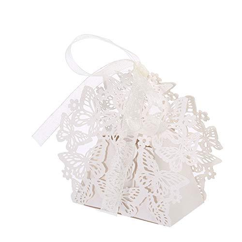 -Box Bulk, 50PCS Schmetterling Romantische Hochzeit Partyzubehör Luxus candy Geschenk Kästchen mit Bändern Schokolade Süßigkeiten und Geschenk Tischdekorationen (weiß) ()