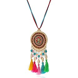 Lureme bohemio Handmade Beaded Dreamcatcher with Shell Borla Pendant Collar-Multicolor (nl005703-1)