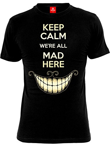 Alice In Wonderland Keep Calm We're All Mad Here T-Shirt nero M