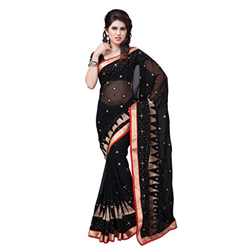 Indigo Sarees Women Embriodered Black Color Georgette Saree