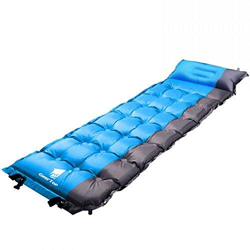 Geertop materassini autogonfianti 5cm spessore 1 persona - 193 x 63 x 5 cm (1,5kg) - con cuscino per tenda campeggio trekking escursione - può essere unito (blu)
