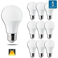 Pack de 10 Bombillas LED A60, 9W, casquillo gordo E27, 720 Lumen, luz calida 3000K