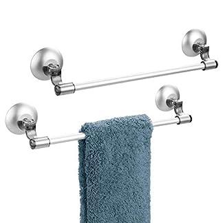 41TQi7TW0lL. SS324  - mDesign Juego de 2 toalleros de Barra autoadhesivos - Práctico toallero con ventosas para Toallas y paños de Cocina - Accesorios de baño sin Taladro en Aluminio Inoxidable - Gris Humo/Plateado
