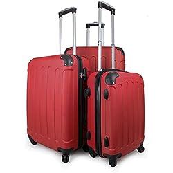 Leogreen - Juego de Maletas, Maletas Equipaje, 51 61 71 cm, Rojo, Esquinas protegidas, ABS, Material: Plástico ABS, Peso: 3 kg (pequeño) 3,5 kg (Mediano) 4,5 kg (Grande)