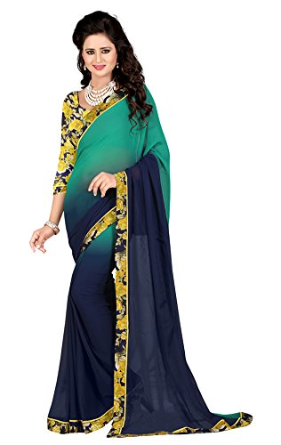Vedant Vastram Women's Georgette Printed Saree With Blouse Piece (Blue & Green...