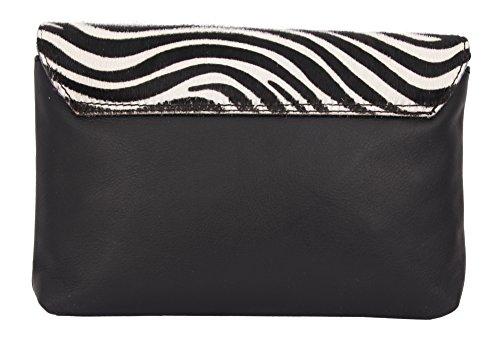 """SLINGBAG """"Maike II"""" Clutch mit echtem Fell / Handtasche / Umhängetasche aus echtem Leder / FARBAUSWAHL (Kuhfell Muster) Zebrafell Muster"""
