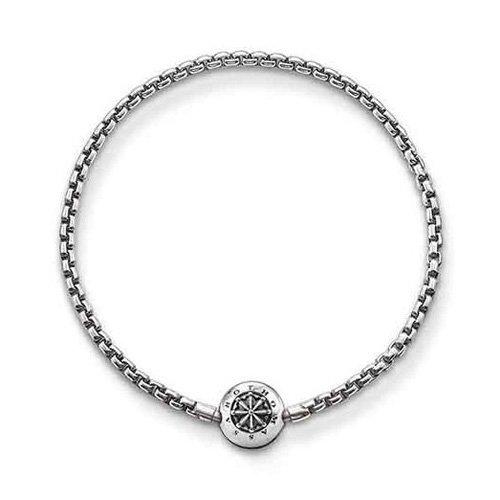 Thomas Sabo Damen-Armband Klappschloss Medailon 925 Silber 22 cm - KA0002-001-12-L24