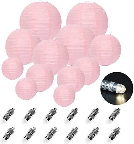 FullBerg ® 12er Rose Papier Laterne Lampions (Verschiedene Größen) rund Lampenschirm Hochtzeit Dekoration Papierlaterne