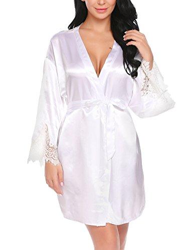 Satin-kimono-robe Kurzen (Untlet Damen Morgenmantel Kimono Bademantel Kurze Satin Nachthemd Nachtwäsche Schlafanzüge Mit Blumenspitze)