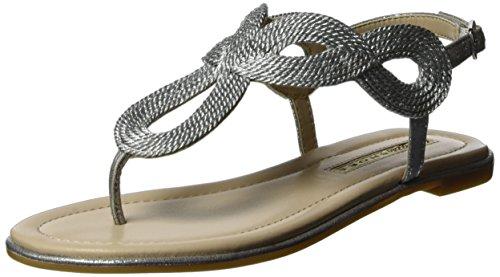 Buffalo Shoes 14S07-46 Fabric, Sandali a Punta Aperta Donna, Argento (Silver), 38 EU