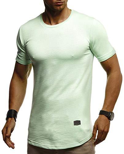 Jungen Muskel T-shirt (Leif Nelson Herren Sommer T-Shirt Rundhals Ausschnitt Slim Fit Baumwolle-Anteil Cooles Basic Männer T-Shirt Crew Neck Jungen Kurzarmshirt O-Neck Kurzarm Lang LN8311 Mint Medium)