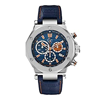 Guess Gc Collection Men's Guess Collection Men's Leather Blue Watch