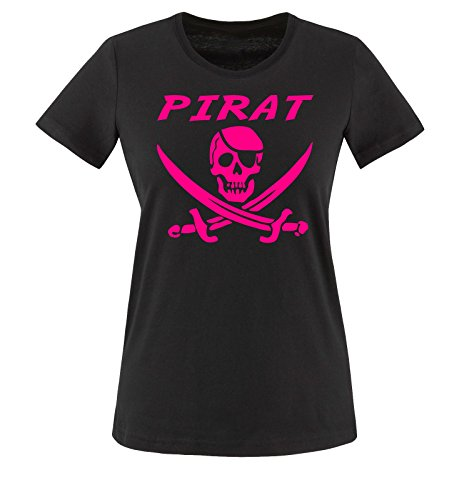Comedy Shirts - PIRAT KOSTÜM -Damen T-Shirt Schwarz / Pink Gr. (Mickey Für Minnie Kostüme Paare Und)