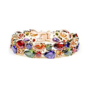 YELLOW CHIMES Sparkling Colors Flowerets Vine Swiss CZ 18K Rose Gold Plated Bracelet for Women