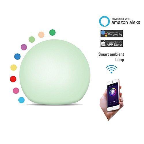 Augrous W-lan Clever Nachtlicht LED Berührungssensor Umgebungs Stimmung Tischlampe Kompatibel mit Alexa und Google Home 10 Farbwechsel Berühren Lampen mit Zeitliche Koordinierung Funktion