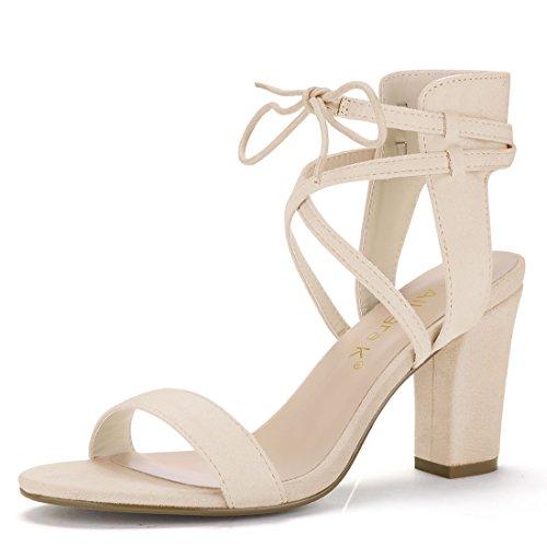 Allegra K Damen offene Zehe Knöchel-Riemen hohe Blockabsatz Sandalen Sandalette, Beige/EU 42 (Casual Womens Heels Heel)