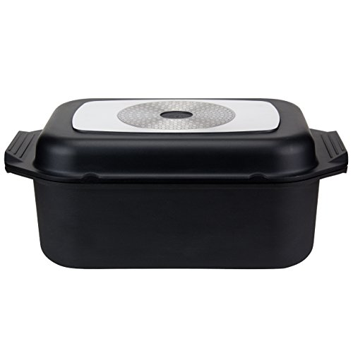 Grizzly aluminio bandeja para horno–2en 1–antiadherente–Con Tapa/sartén parrilla y guantes de horno–para todos los tipos de cocina–rectangular–8litros–34,5x 24,5cm, color negro