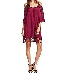 Women's Cold Shoulder Crochet Sleeve Loose Beach Dress