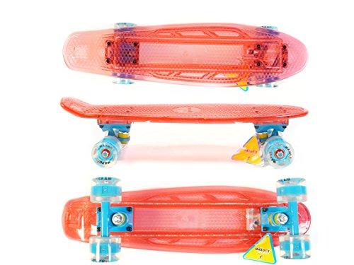 Skateboard MAXOfit® Mini LED Skateboard ROT 55 cm (22 Zoll), mit integriertem LED Lichtband und LED Rollen