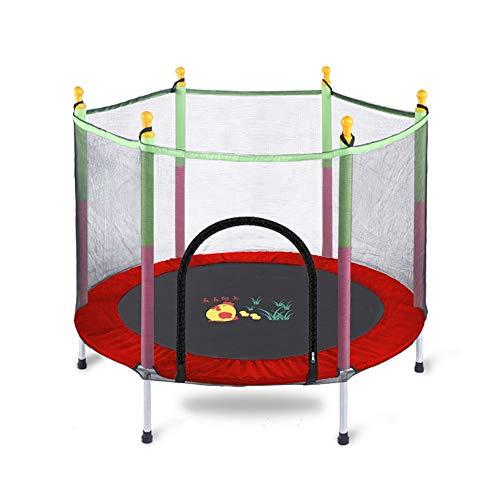 Trampolines Cama elástica para niños con recinto de Seguridad, Equipo de Ejercicios de 55 Pulgadas con colchoneta para Saltar, Carga de 200 kg, Rojo