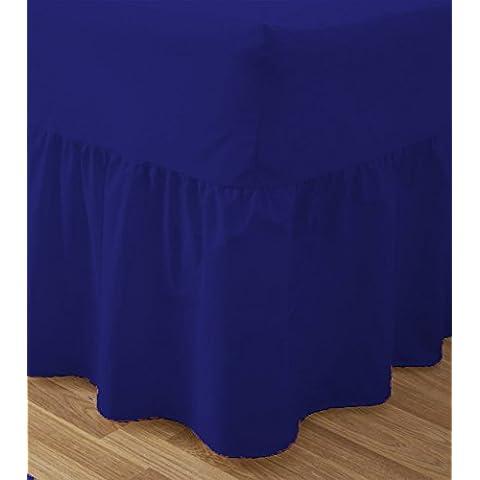 discountdealer2015Luxury lenzuolo in tinta unita in policotone letto Multi Colore, D K, 50% cotone/50% poliestere/ in cotone/misto-cotone/poliestere, Royal Blue, King
