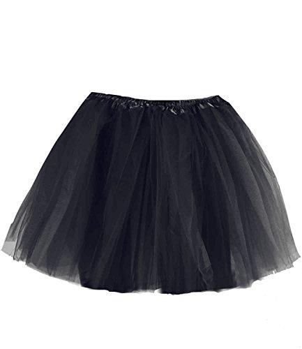 caripe Tutu Ballettrock Tüllrock für Erwachsene und Kinder in vielen Farben - Tütü (schwarz - adult)