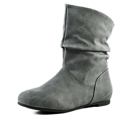 Basic Worker Boots Kurzschaft Stiefel Schlupf Stiefeletten in hochwertiger Lederoptik Grau Glattlederoptik