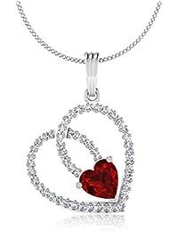 IskiUski  White Gold, Diamond And Ruby Pendant For Women - B075S8Y1ZC