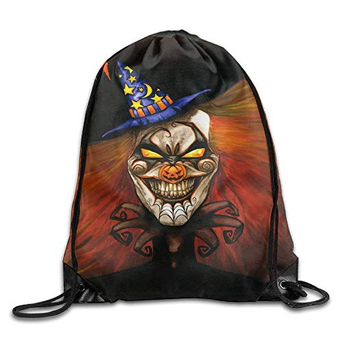 shuangshao liu Halloween Clown Drawstring Tasche, Drawstring Backpack, Sport Tasche, Gymsack, Sackpack, Shoulder Tasches For Men Women Teenager Juvenile Adolescent, Size: 17 Inch X 14 Inch (Für Teenager-aktivitäten Halloween)