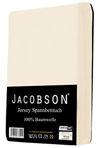 Jacobson Jersey Spannbettlaken Spannbetttuch Baumwolle Bettlaken (90x200-100x200 cm, Natur) - 2