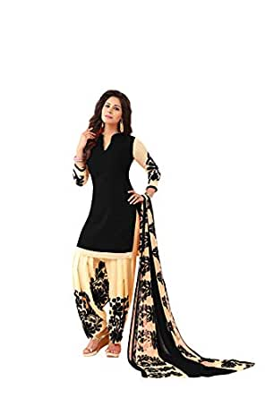 Fashion Valley Women's Crepe Dress Material (FVMAYA1528F_Black_Free Size)