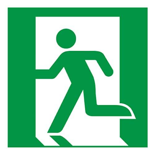 Anro Warnschild für Notausgang E001 | Nachleuchtendes PVC Sicherheitsschild Fluchtweg | Selbstklebendes Rettungsweg-Schild für Schulen, Betriebe, Produktion & Kliniken | Farbe: Grün